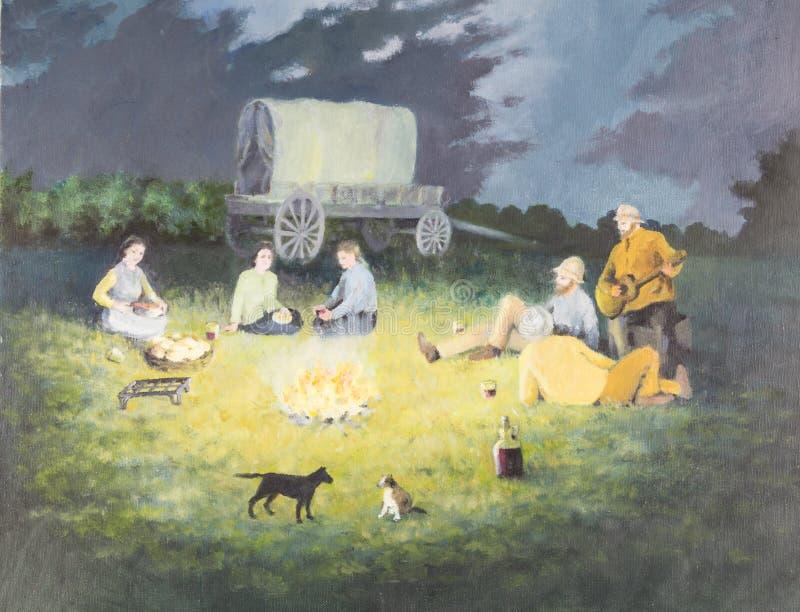 Pintura a óleo original na lona - cena pioneira da fogueira com pe ilustração do vetor