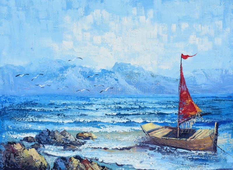 Pintura a óleo original na lona - navigação no oceano ilustração royalty free