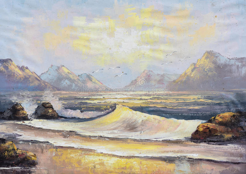Pintura a óleo original na lona - paisagem do oceano ilustração do vetor