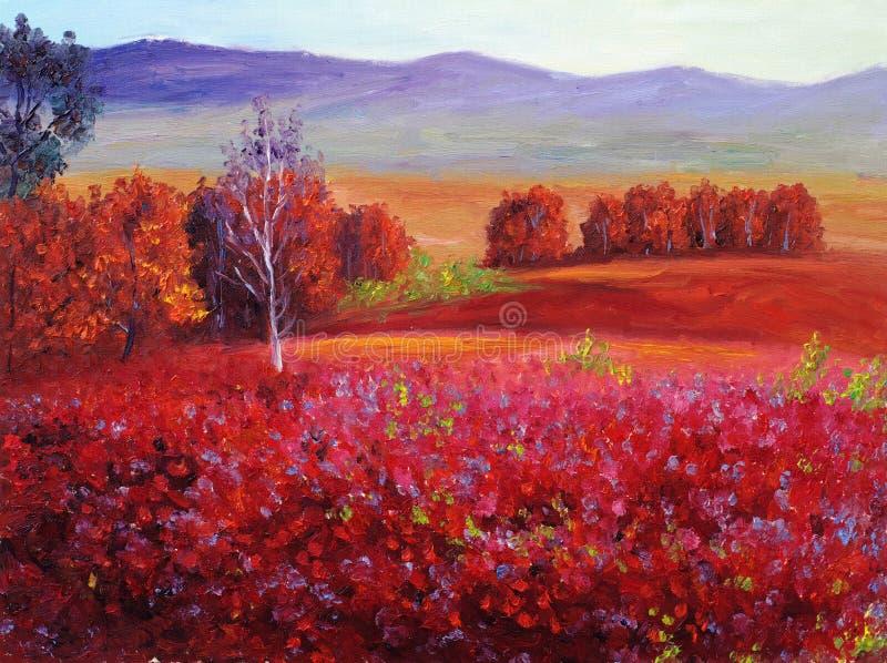 Pintura a óleo - outono vermelho abstrato ilustração do vetor
