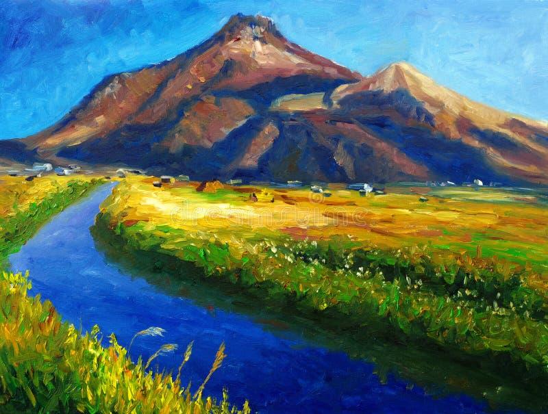 Pintura a óleo - paisagem ilustração stock