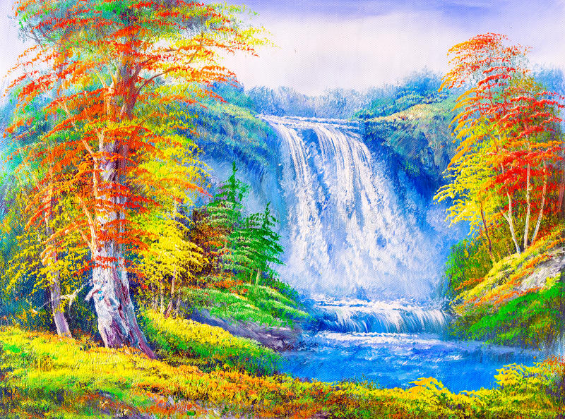 Pintura a óleo - paisagem ilustração royalty free