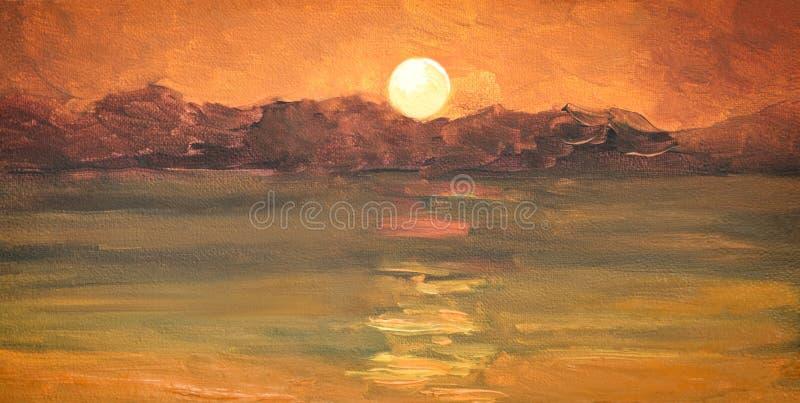 Pintura a óleo, por do sol cor-de-rosa, mar, montanhas ilustração royalty free