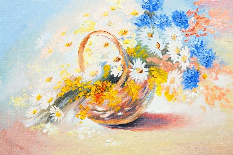 Pintura a óleo - ramalhete abstrato de flores da mola ilustração royalty free