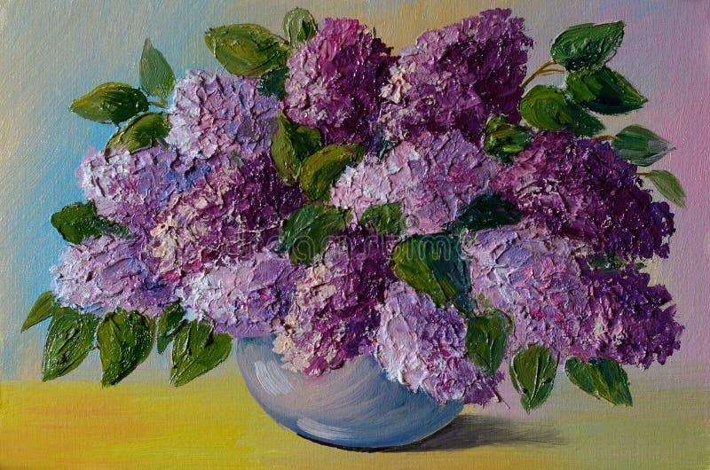 Pintura a óleo - ramalhete colorido dos lilás na tabela em um vaso ilustração stock