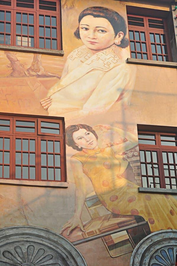Pintura a óleo retro 'sexy' pintada da beleza do cheongsam da beleza imagem de stock