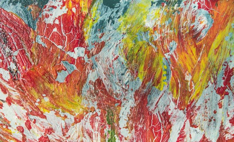 Pintura a óleo reversa manual Fundo da arte abstrata Pintura a óleo na lona A cor da textura Fragmento do compositio imagens de stock royalty free