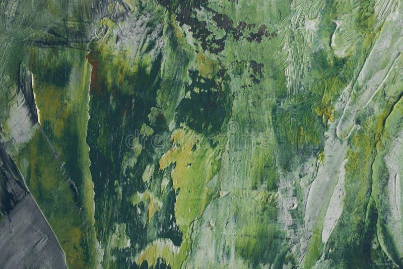 Pintura a óleo tirada mão Fundo abstrato verde Pintura a óleo na lona imagens de stock royalty free