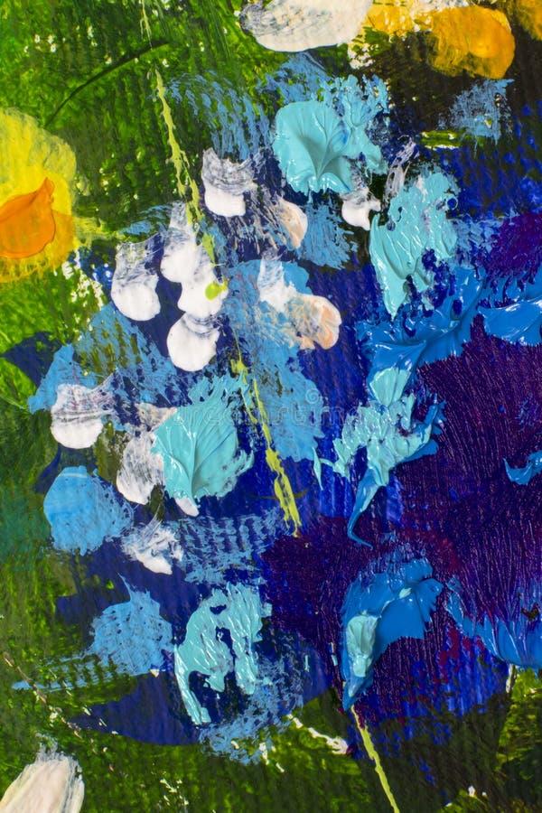 Pintura a óleo tirada mão Fundo azul abstrato da arte Pintura a óleo na lona Textura da cor Fragmento da arte finala Pontos da pi fotografia de stock