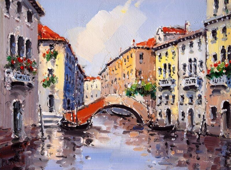 Pintura a óleo - Veneza, Italy ilustração do vetor