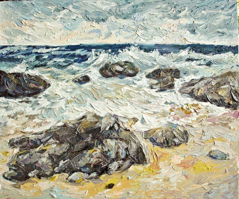 Pintura a óleo ventosa da praia do mar e da rocha foto de stock royalty free