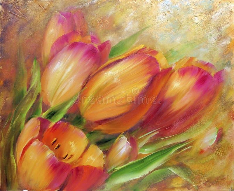 Pintura a óleo vermelha das tulipas do vintage ilustração do vetor