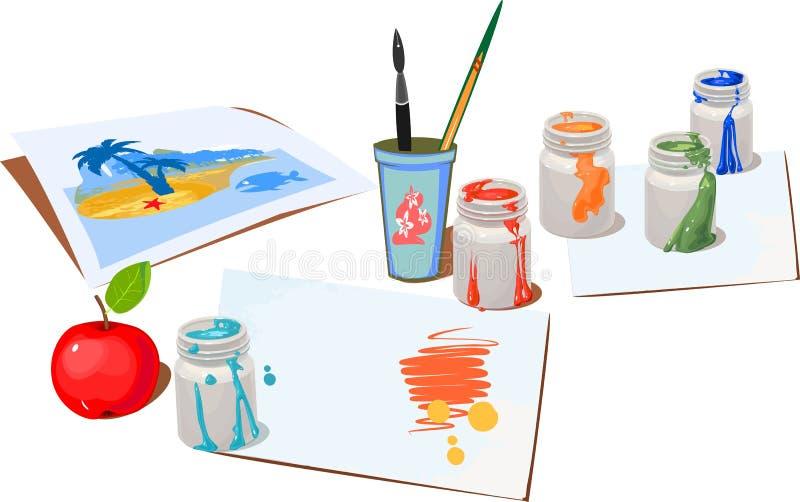 A pintura aberta buckets cores ilustração do vetor