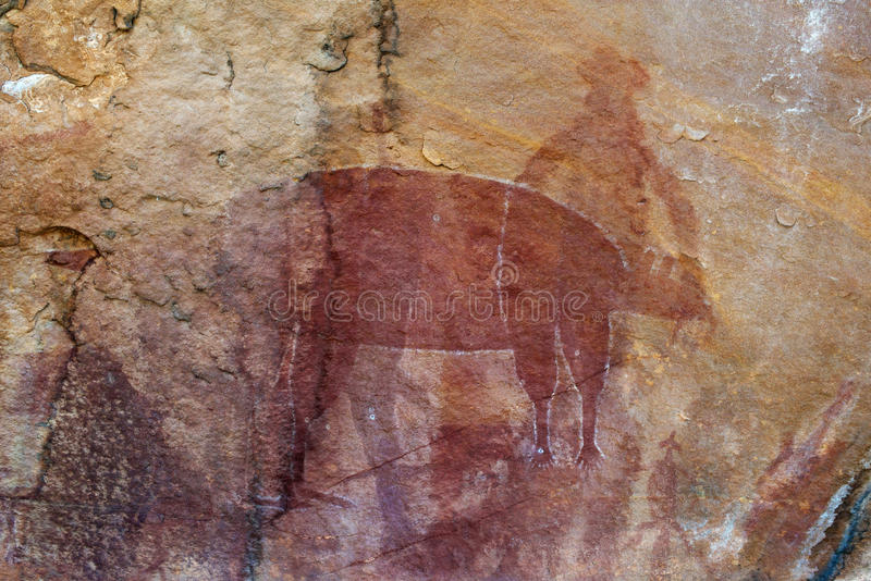 Pintura aborígene da rocha foto de stock