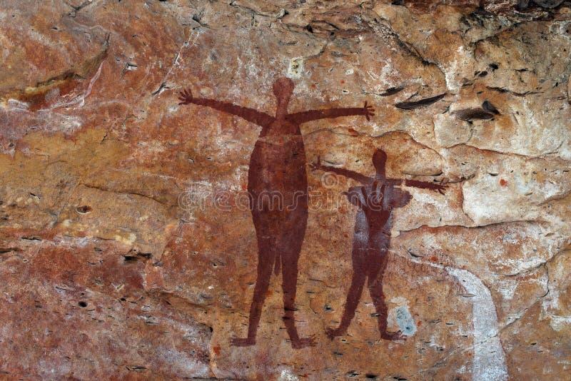 Pintura aborígene da rocha foto de stock royalty free