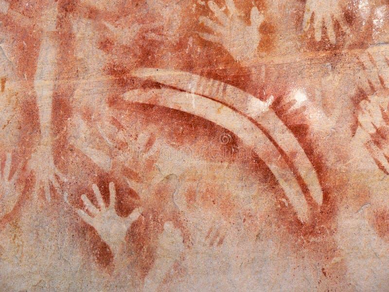 Pintura aborigen de la roca foto de archivo libre de regalías