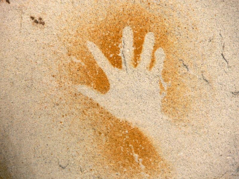 Pintura aborigen de la roca, mano imagen de archivo libre de regalías