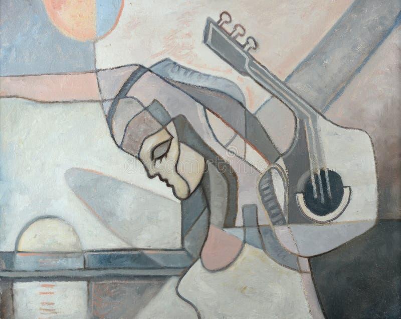 Pintura abstracta con la mujer y la guitarra libre illustration