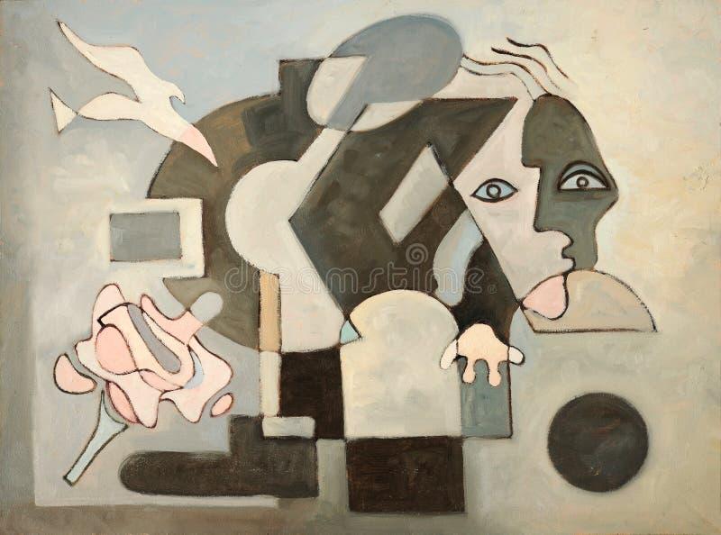 Pintura abstracta con la paloma foto de archivo libre de regalías