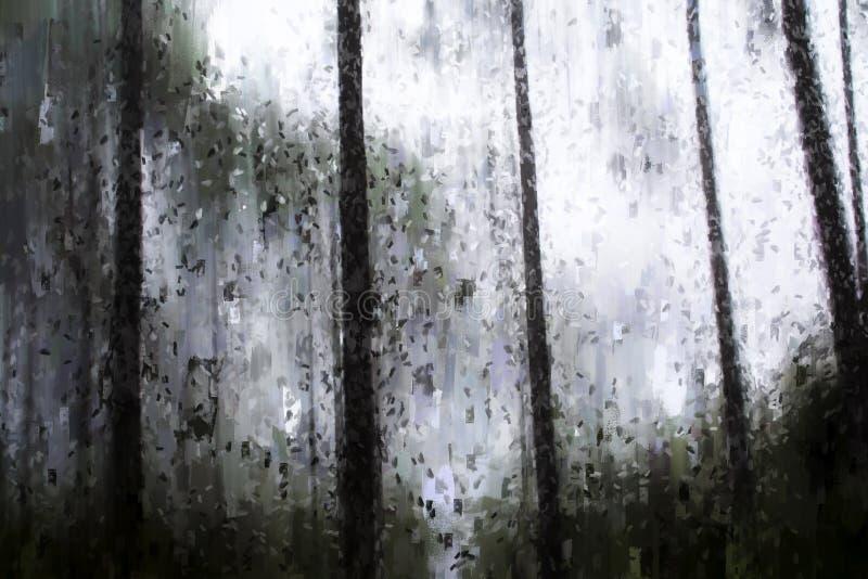 Pintura abstracta de árboles en la selva tropical con niebla libre illustration