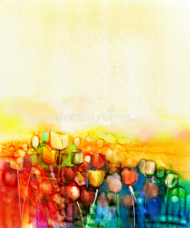 Pintura abstracta de la acuarela del campo de flor del tulipán libre illustration