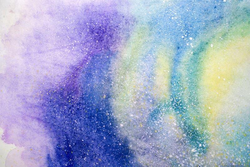 Pintura abstracta de la acuarela dibujo del color de agua El Watercolour borra el fondo de la textura ilustración del vector