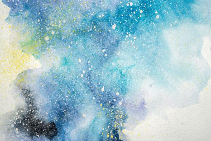 Pintura abstracta de la acuarela Dibujo del color de agua Las manchas blancas /negras coloridas texturizan el fondo stock de ilustración
