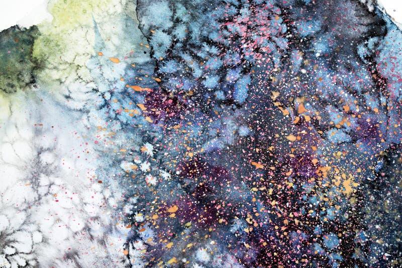 Pintura abstracta de la acuarela Dibujo del color de agua Las manchas blancas /negras coloridas texturizan el fondo ilustración del vector