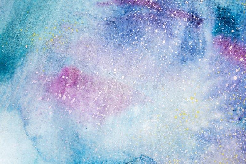 Pintura abstracta de la acuarela Dibujo del color de agua Las manchas blancas /negras coloridas texturizan el fondo libre illustration