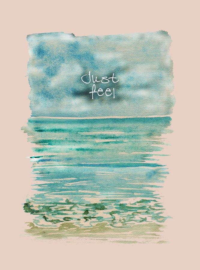 Pintura abstracta de la acuarela Ondas de Art Nouveau Modelo ondulado azul brillante De alta resolución Ondas azulverdes colorida stock de ilustración