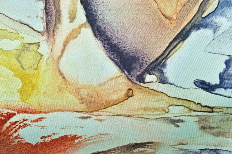 Pintura abstracta de la acuarela, primer macro texturizado pintado de la tela de seda del fondo horizontal de la lona, turquesa e fotografía de archivo libre de regalías