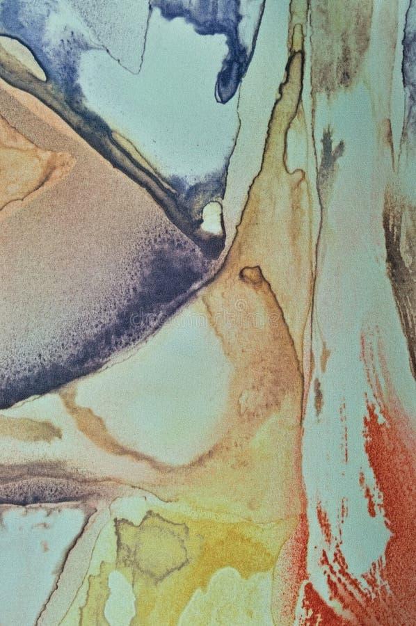 Pintura abstracta de la acuarela, primer macro texturizado pintado de la tela de seda del fondo vertical de la lona, turquesa en  fotografía de archivo