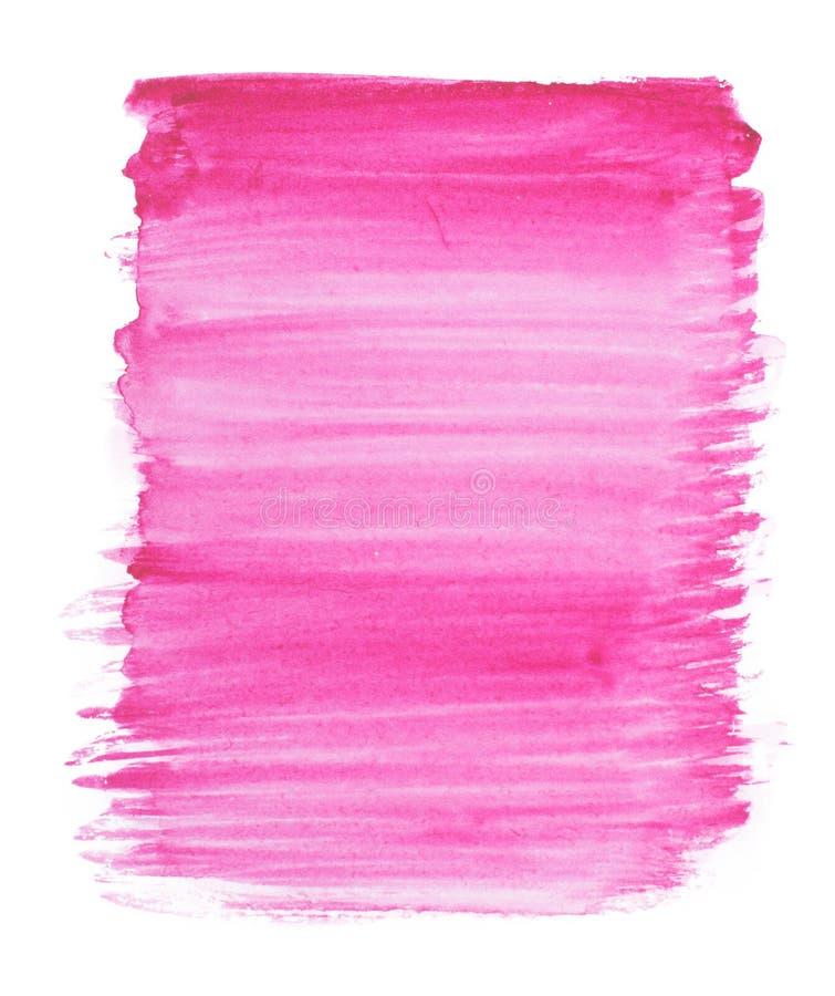 Pintura abstracta de la mano del arte de la acuarela aislada en el fondo blanco Manchas de la acuarela Bandera púrpura-azul cuadr ilustración del vector