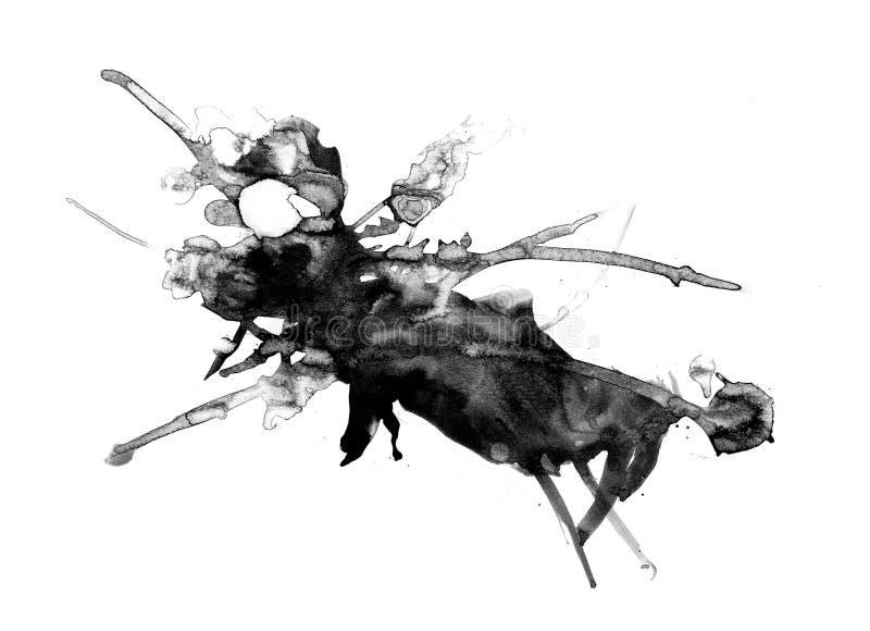 Pintura abstracta de la tinta, modelo negro artístico stock de ilustración