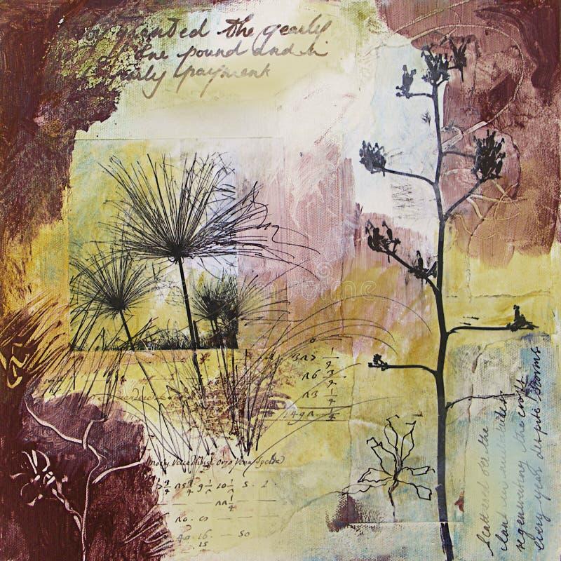 Pintura abstracta de los media mezclados con los seedheads ilustración del vector