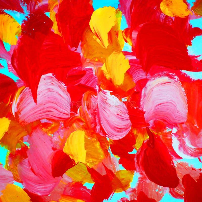 Pintura abstracta decorativa de pétalos color de rosa, modelo de la acuarela, ilustración del vector