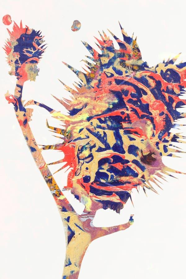 Pintura abstracta del cardo fotografía de archivo libre de regalías