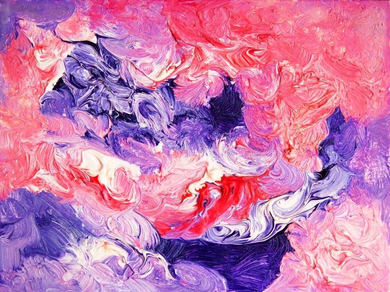Pintura abstracta del color Petróleo en lona ilustración del vector
