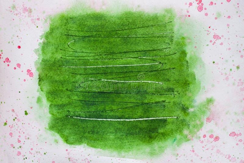 Pintura abstracta del fondo, mano dibujada en color verde de moda de las sombras con los rasguños Textura del papel de la acuarel fotos de archivo libres de regalías