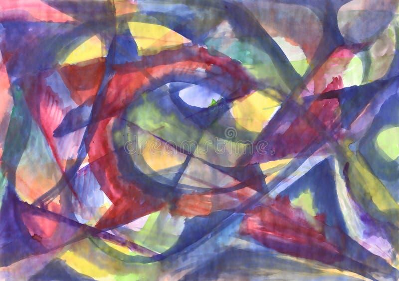 Pintura abstracta geométrica de la acuarela Caleidoscopio ilustración del vector