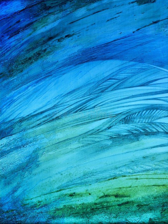 Pintura abstracta hecha a mano Surrealismo y misticismo Pintura abstracta del fondo stock de ilustración
