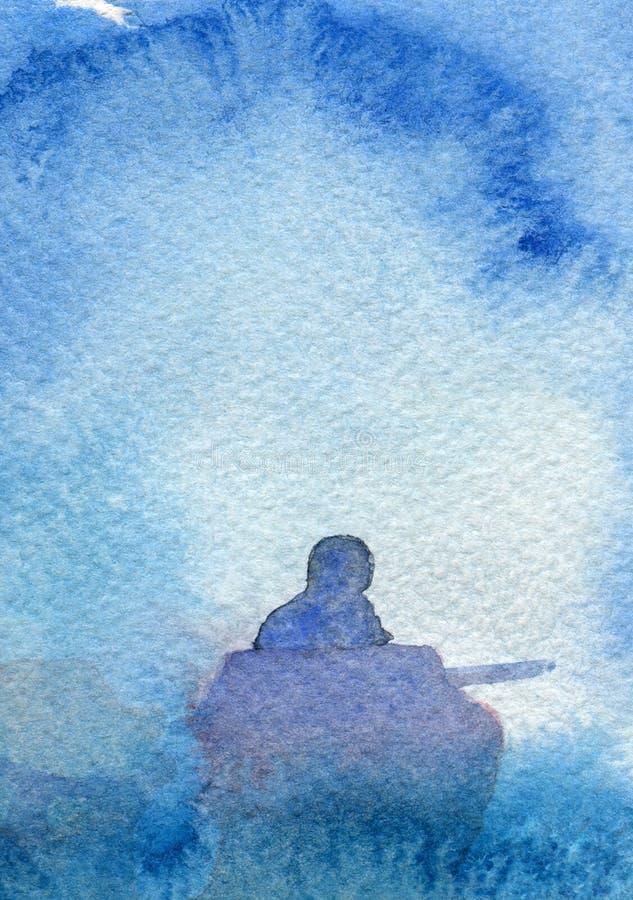 Pintura abstracta pesquera ida de la acuarela libre illustration