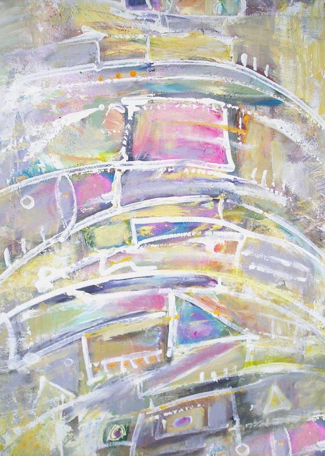 Pintura abstrata com vários elementos geométricos ilustração do vetor
