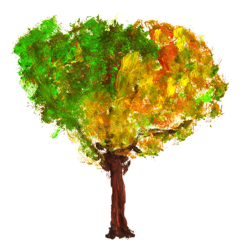 Pintura abstrata da árvore do outono pintada com pinturas acrílicas ilustração do vetor
