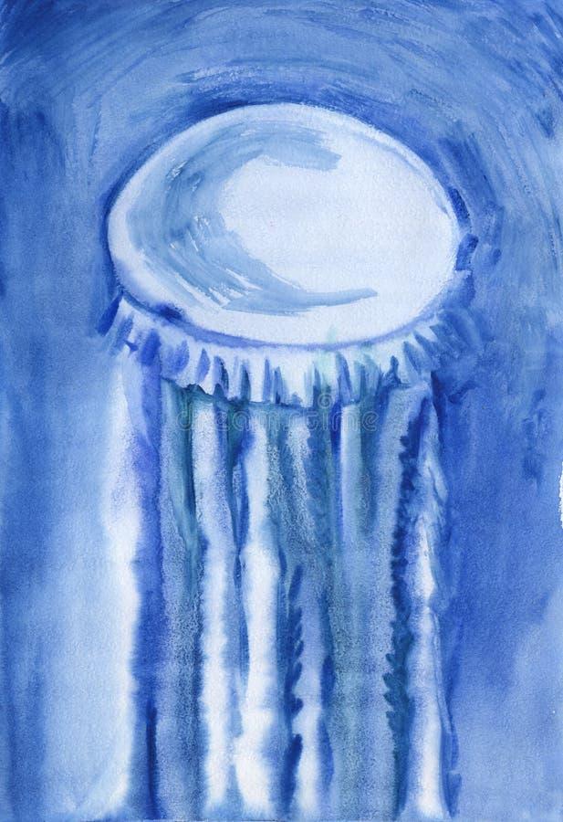 Pintura abstrata da aquarela de Jelly Fish Mão tirada em uma ilustração de papel molhada ilustração royalty free