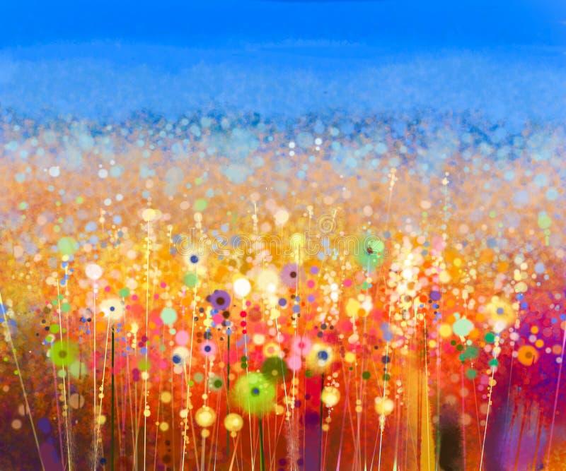 Pintura abstrata da aquarela do campo de flor fotos de stock royalty free