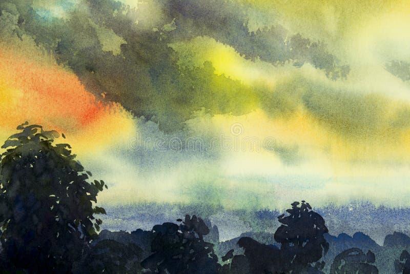 Pintura abstrata da aquarela da opinião da vila, estação das chuvas ilustração royalty free