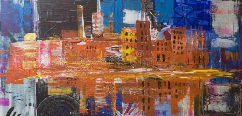 Pintura abstrata da cidade ilustração do vetor