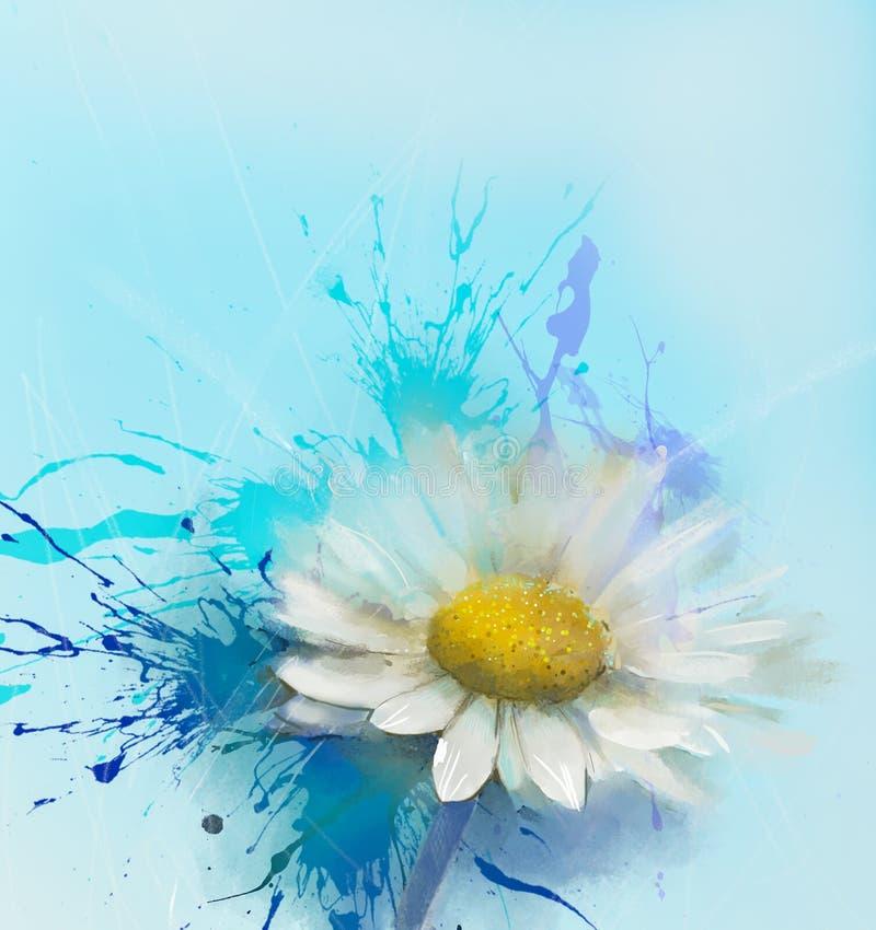 Pintura abstrata da flor da margarida ilustração royalty free