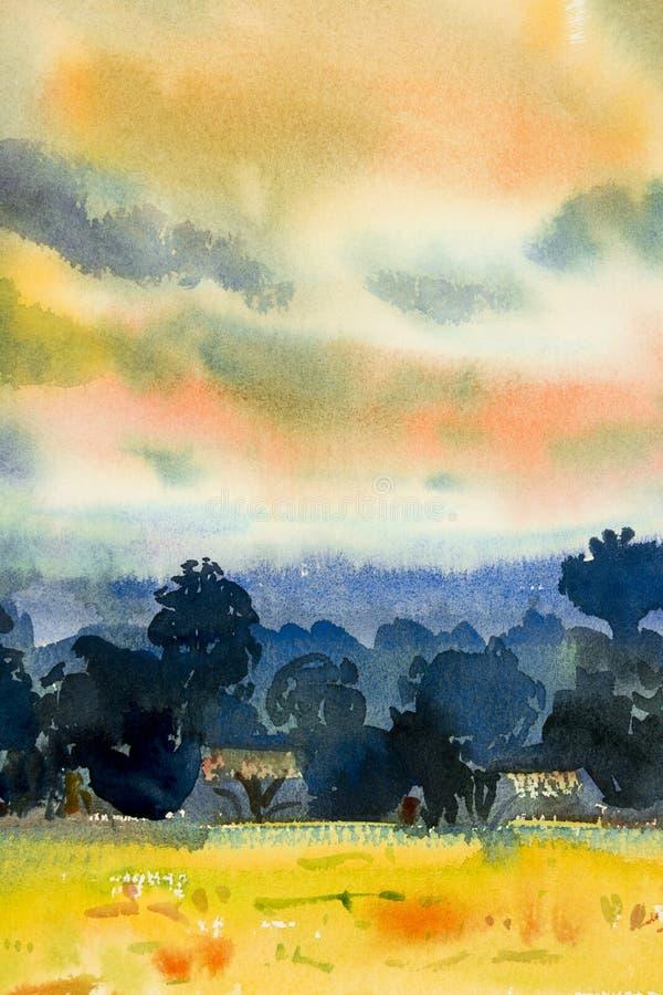 Pintura abstrata da opinião da vila, montanha da aquarela da árvore ilustração do vetor
